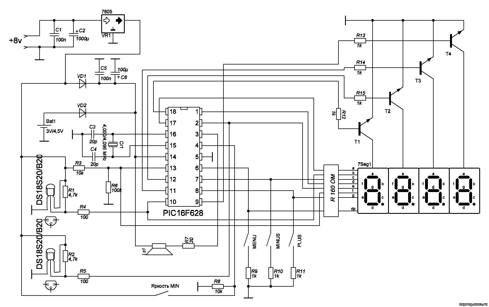 Для вывода на индикатор максимальной и минимальной измеренных температур нужна кнопка sb1.