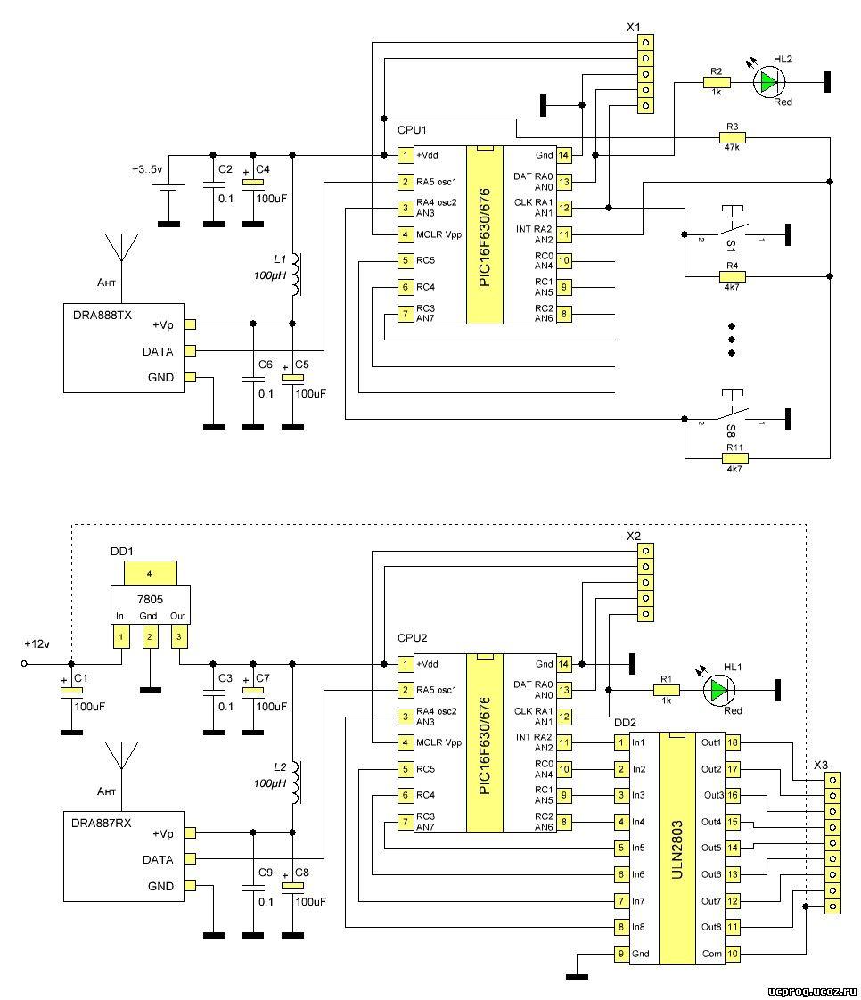 схема устройства радиоуправления протеус